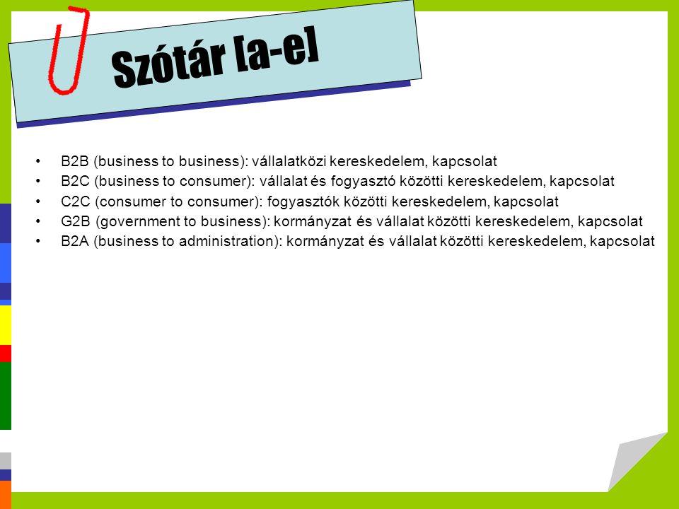 Szótár [a-e] B2B (business to business): vállalatközi kereskedelem, kapcsolat.